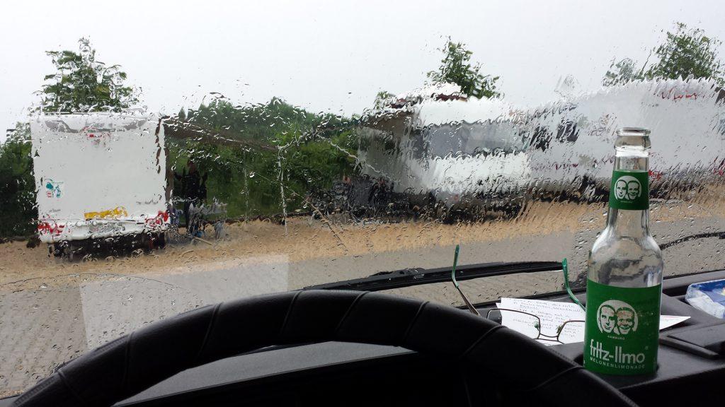Wohnmobilstellplatz Therme Erding, es regnet noch immer