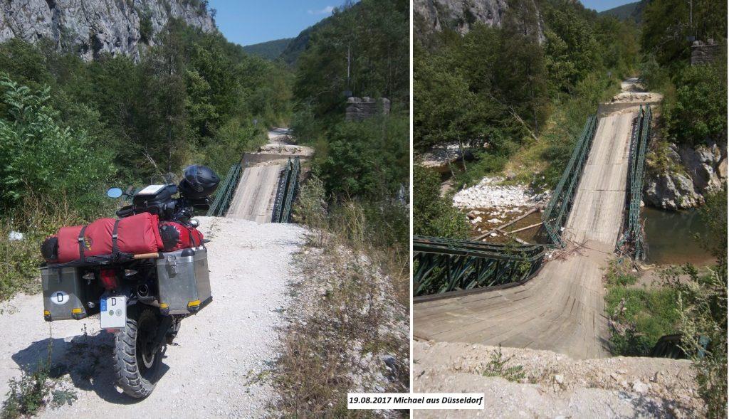 Zerstörte Brücke Praca Canyon unpassierbar