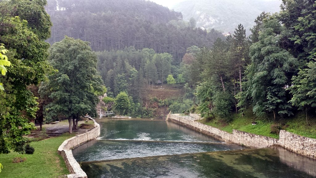 Pliva Fluss in Jajce Bosnien-Herzegowina