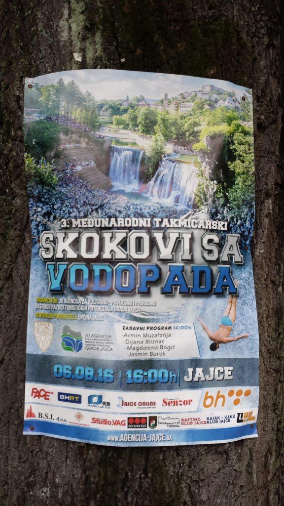 Werbung für das Event des Jahres Wasserfall Sprung Jajce