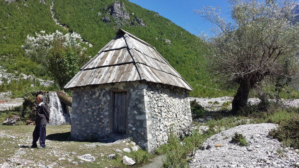 Wassermühle in Nderlysaj, Theth, Albanien. Sommer 2016.