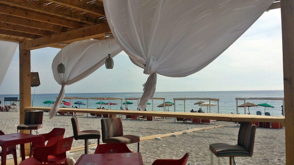 Einsame Strandbar Albanien Strand