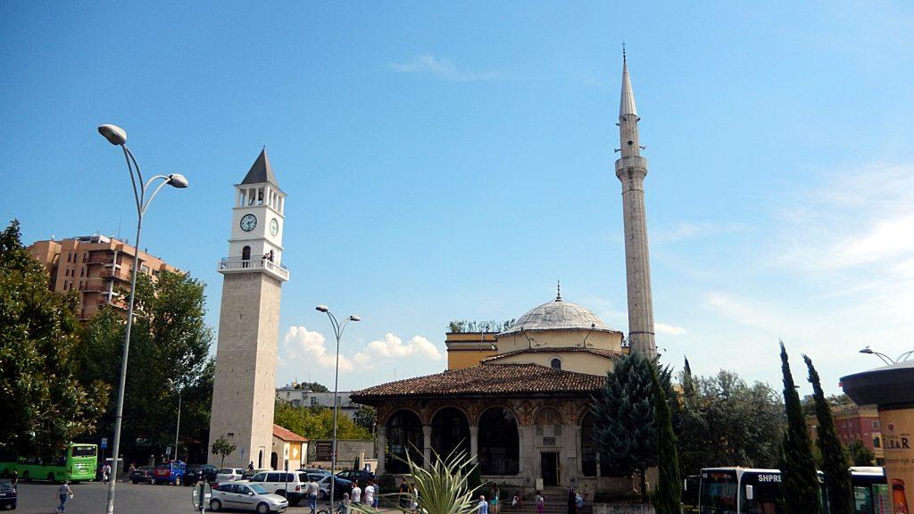 Uhrenturm und Et'hem Beu Moschee, Tirana, Albanien