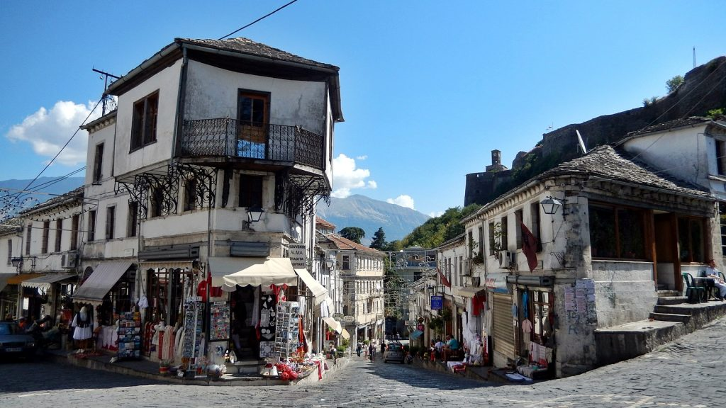 Osmanischer Baustil in Gjirokastra, Albanien