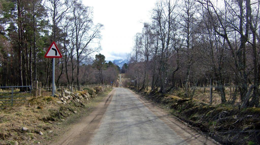 Vor dem blauen Schild geht die Straße scharf links weiter