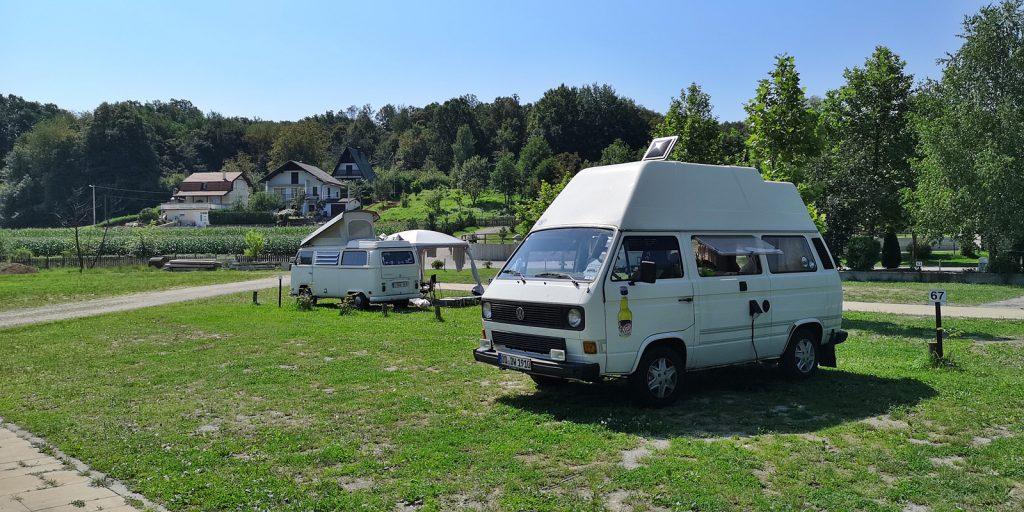 Bullitreffen auf dem Campingplatz in Belavići