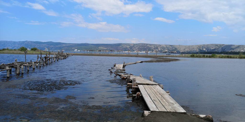 Südlichster Strand von Shëngjin auf einer vorgelagertern Lagune