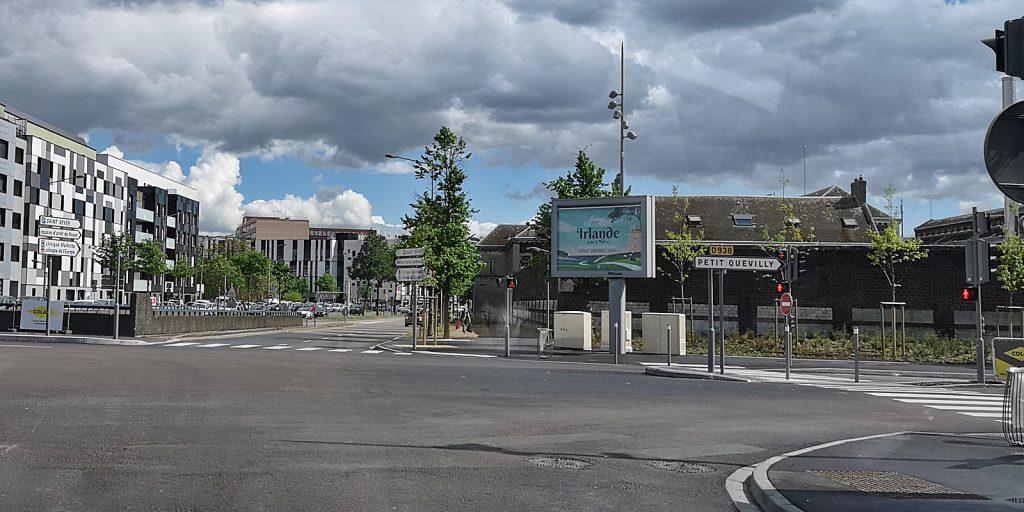 Da kommen wir gerade her: Irland-Werbung in Rouen